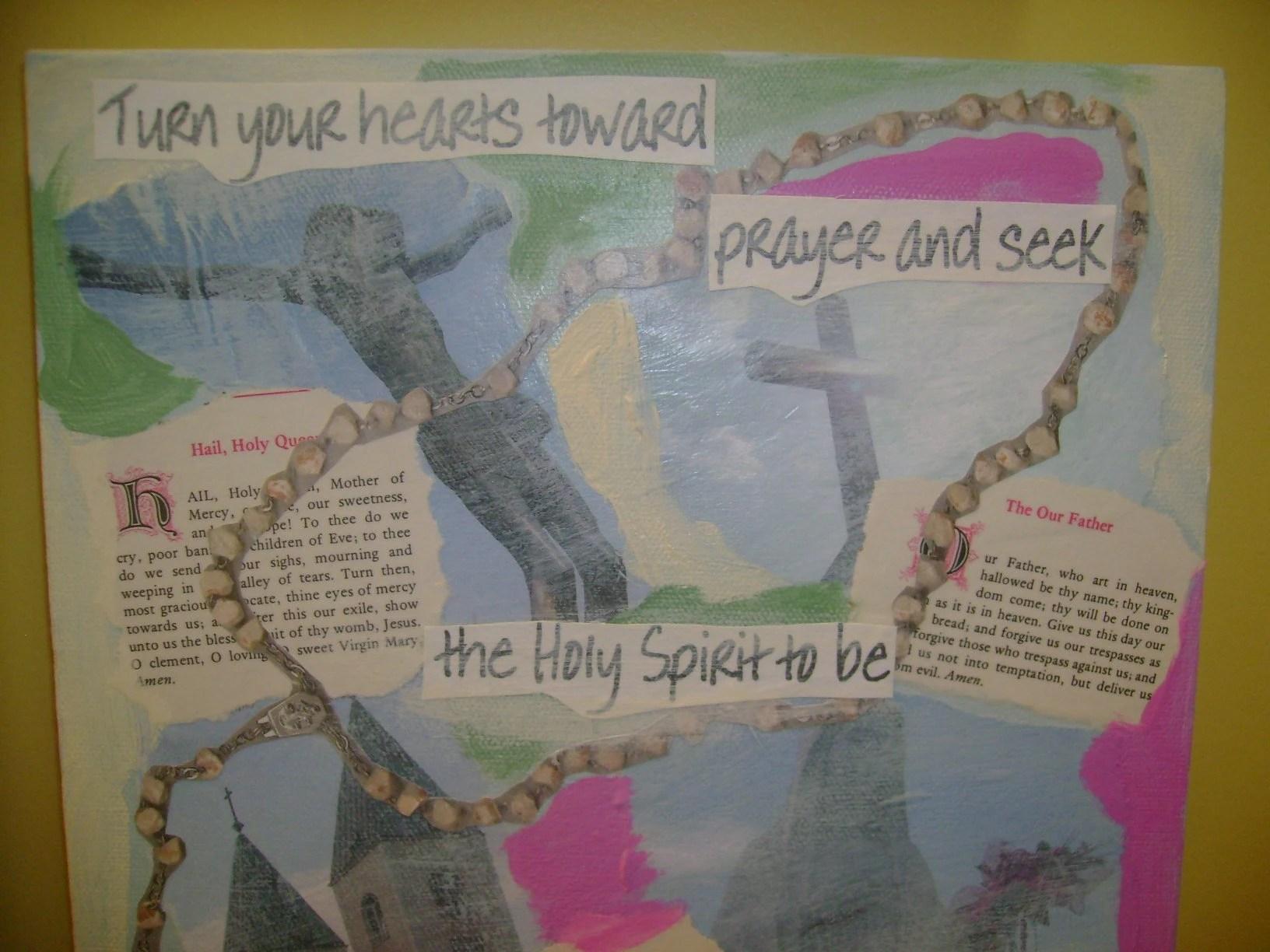 Medjugorje Holy Spirit Mixed Media Collage (10X10)