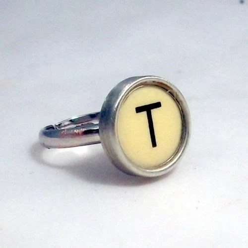 Letter T Vintage Typewriter Key  Ring in Yellow