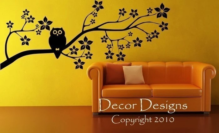 Owl on a Blossom Branch Vinyl Wall Decal