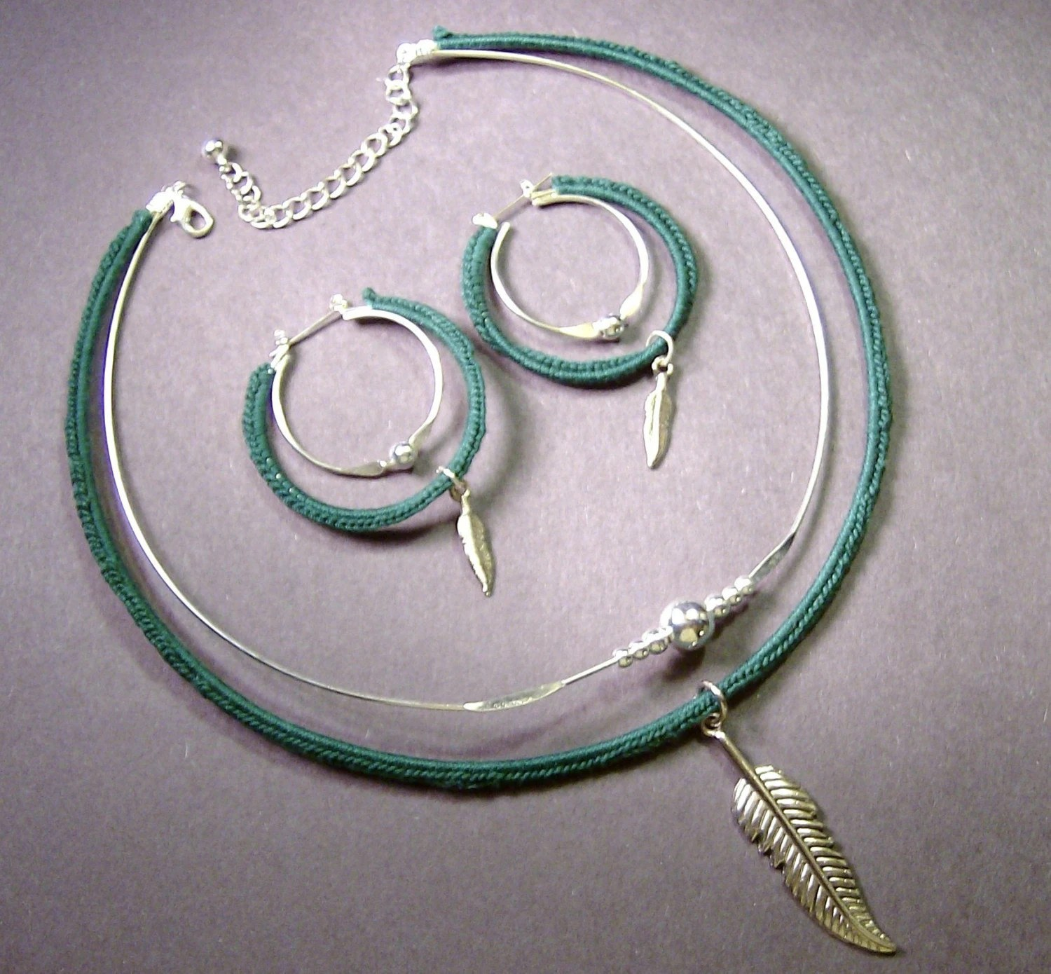 Crochet Choker Necklace and Earring Set With Feather Charm