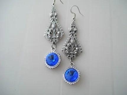 Sapphire Blue and Silver  Sparkly Wedding Dangle Victorian Rivoli Crystal Chandeleir earrings