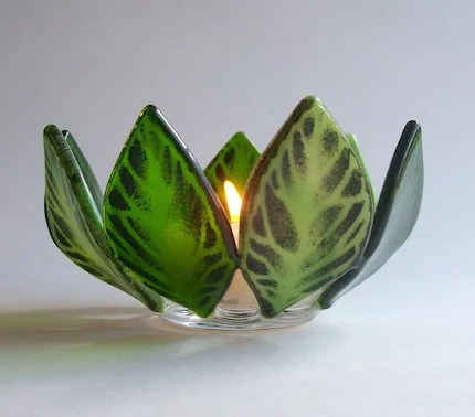 Fused Glass Leaf Candle Holder/Votive (Green)