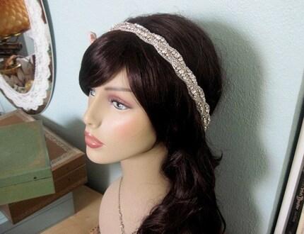 Bardot old hollywood crystal and silk headpiece or sash- custom made to order