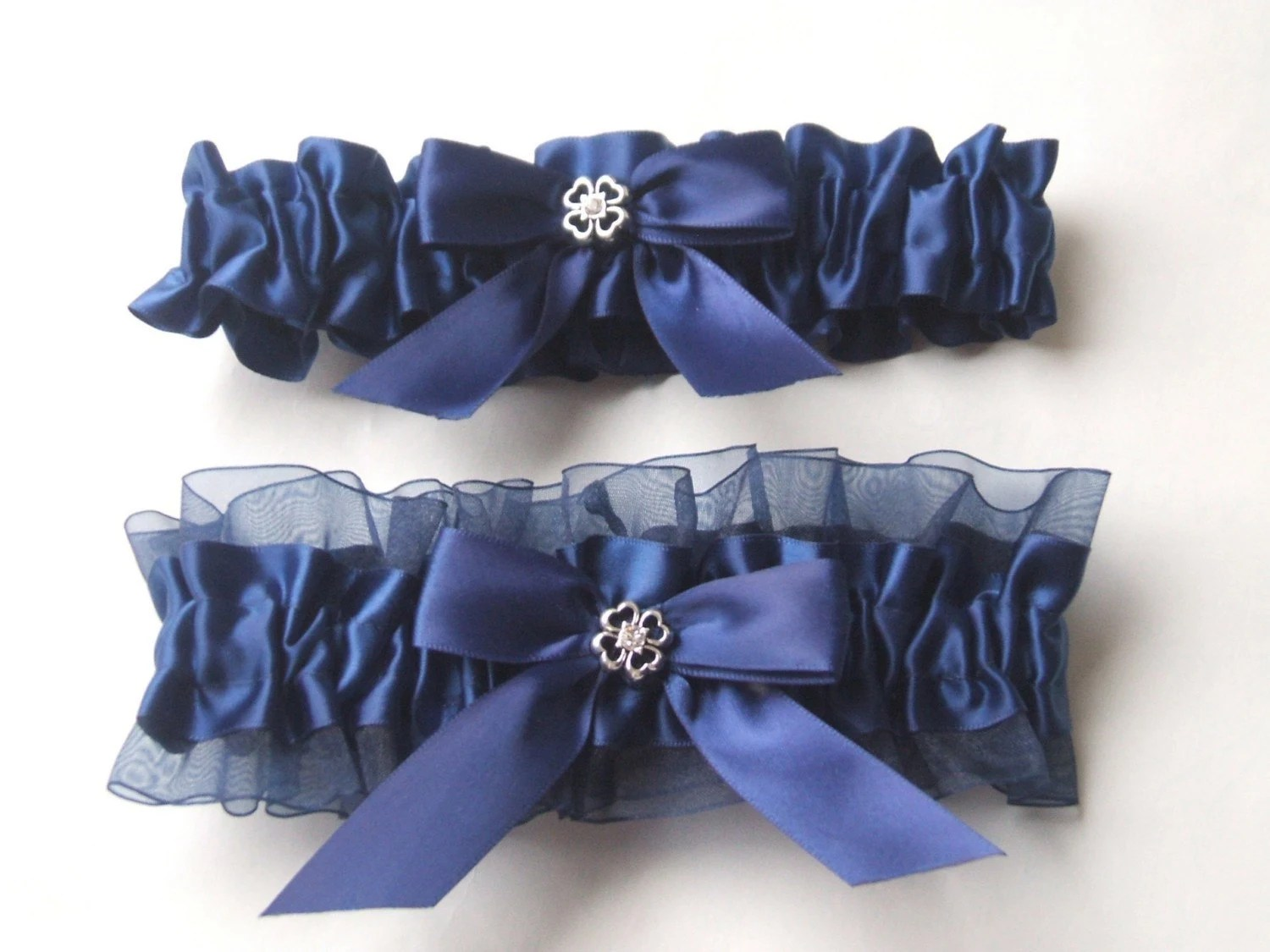 Navy bule satin and organza and charm