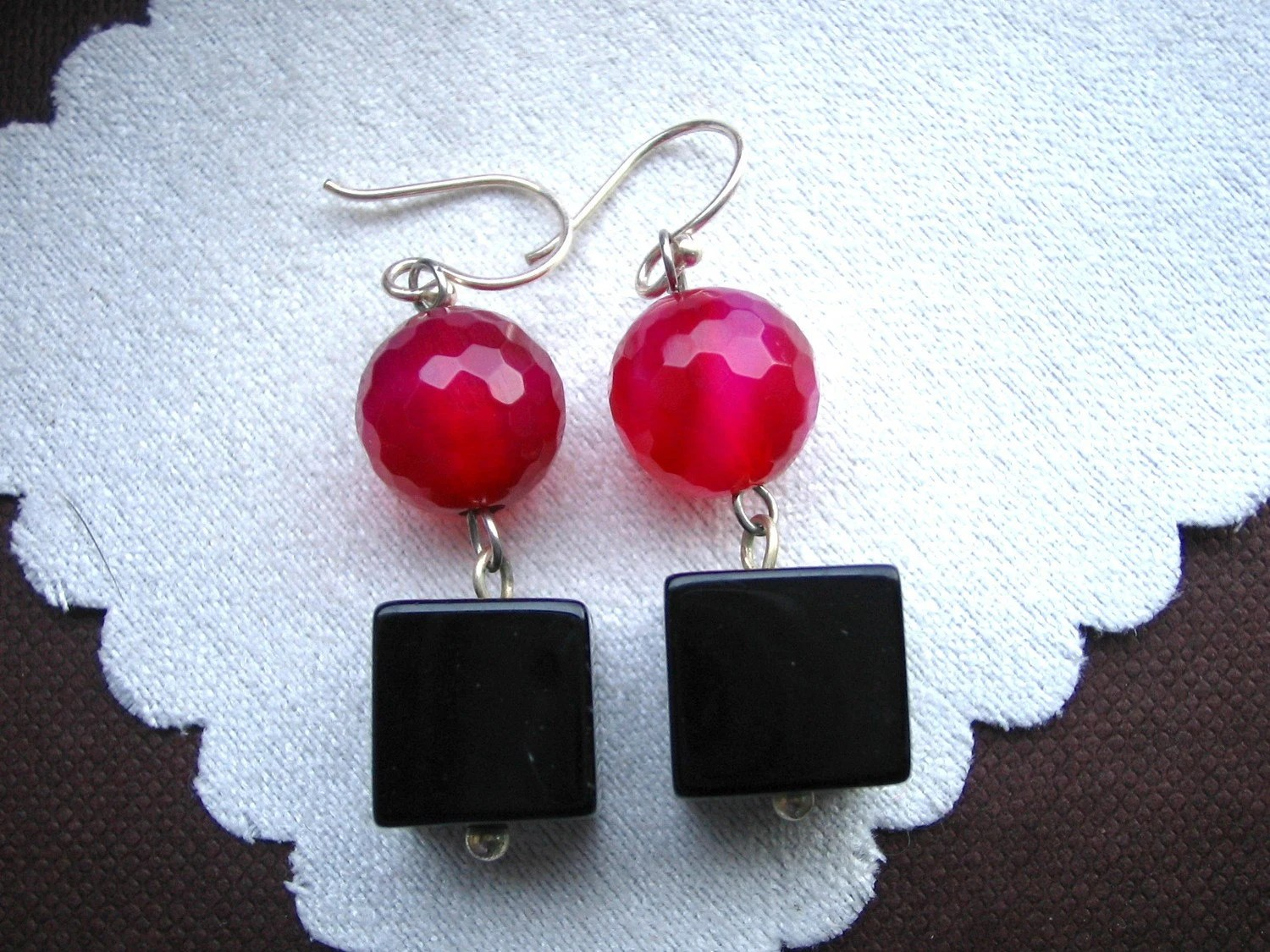 Lovely Red Stone dangle with Black Agate Earring