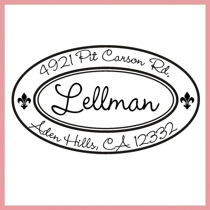 Fleur de lis Custom Return Address Rubber Stamp Self inking Fleur de lys
