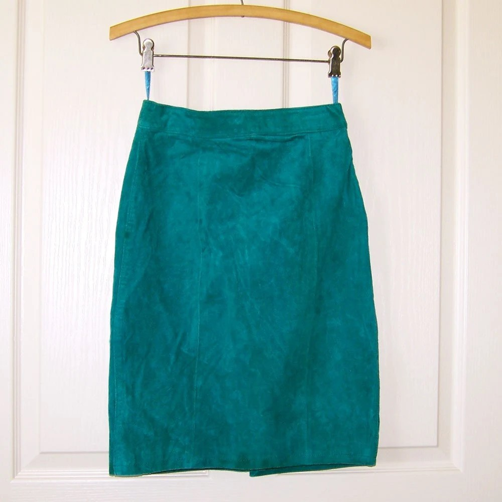 Teal Suede Vintage 80s Leather Skirt S