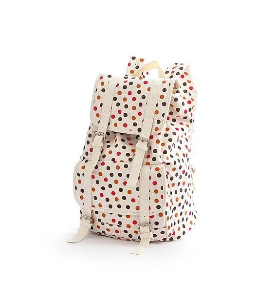 Polka Dot Canvas Large Backpack