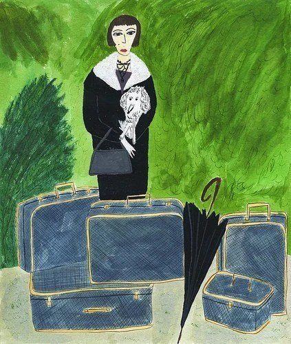 Mrs. Wesley Winchester and Walter arrive in West Palm in the same manner in which they always arrive everywhere - with lots of baggage. Limited edition print of an original watercolor painting.