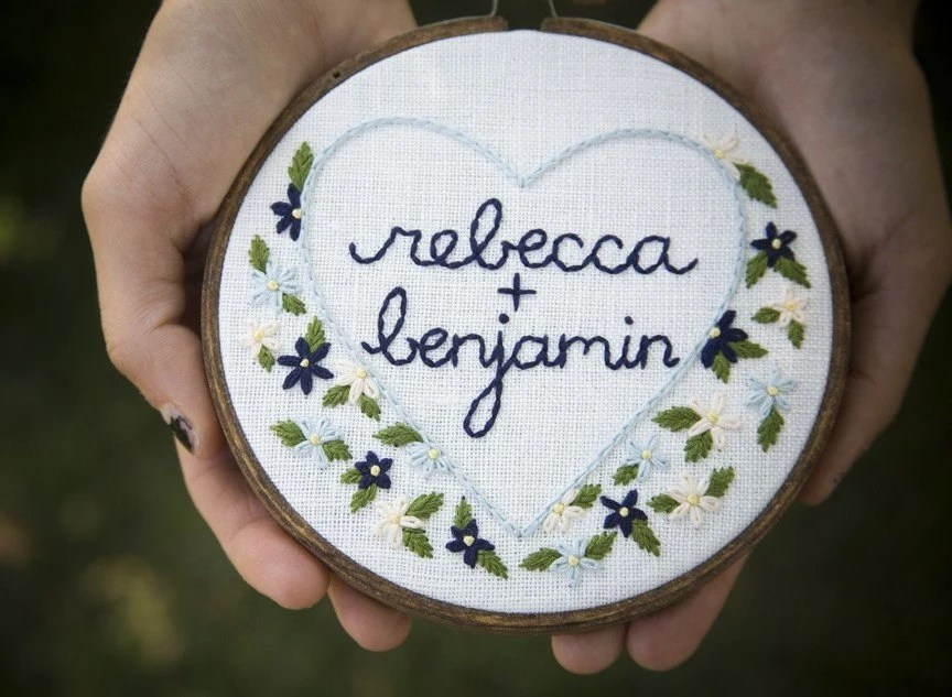 wedding bouquet, embroidered ringbearer hoop