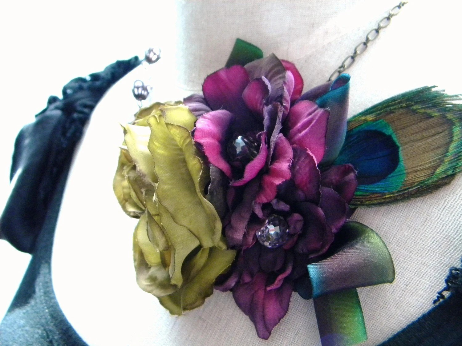 The Peacock and Violet Special Occasion Statement Necklace FREE SHIPPING Bridal Wedding Bride Bridesmaids Cocktail Party
