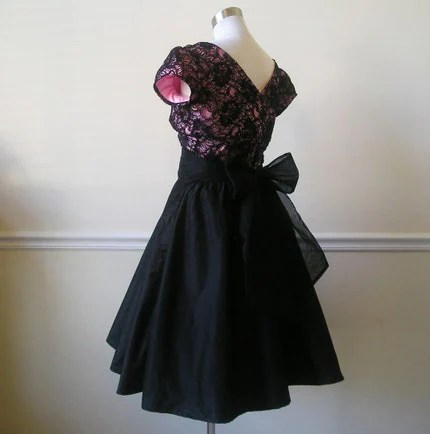 Gorgeous Custom 50s Silk Taffeta and Chantilly Lace Party Dress with Silk Organza Sash