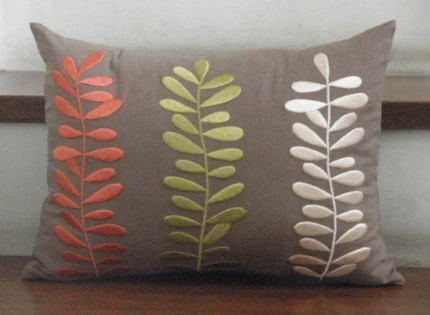 Three Colors of Leaves - Embroidery Pillow Covers