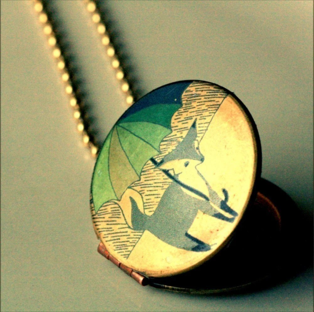 Locket necklace vintage antique necklace gold tone-- Little Blue Fox in the Rain -- Original design