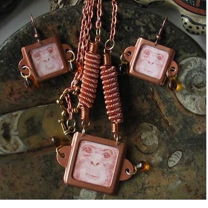 Unique Copper Chimpanzee Necklace and Earring Set