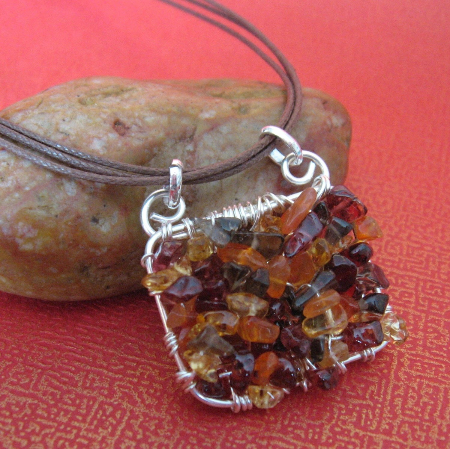 Autumn Leaves - Wire Woven Gemstone Pendant