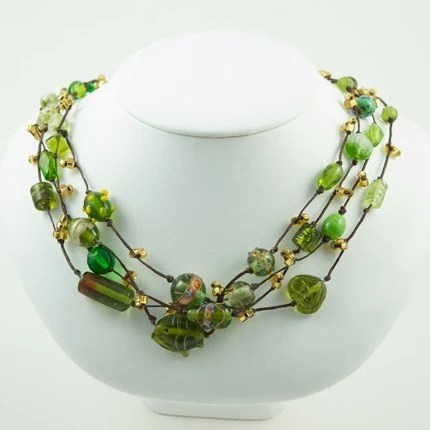 BOGO SALE - Dalim Green Gold Four Strand Necklace