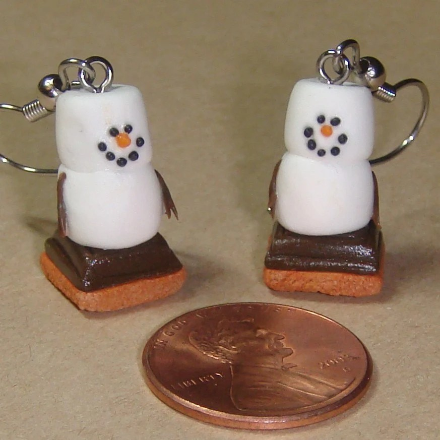 Snowman Smores, Earrings