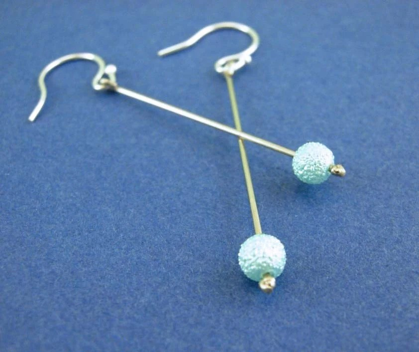 Aqua Drops - Dangle Beaded Earrings