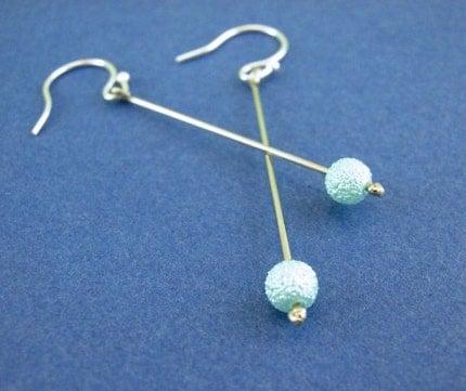 Aqua Drops - Dangle Beaded Earrings