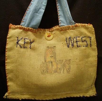 Burlap  Handbag Upcycled Purse