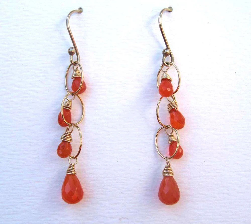 Carnelian Waterfall earrings by Mel McCabe