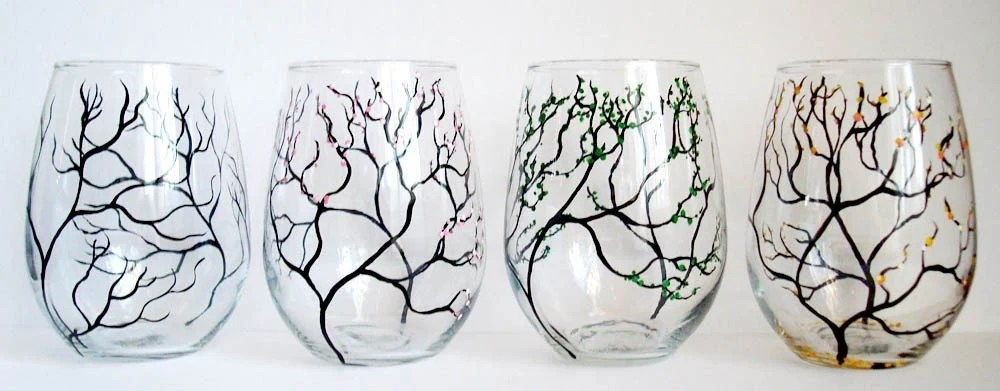 The Four Seasons stemless wine glasses