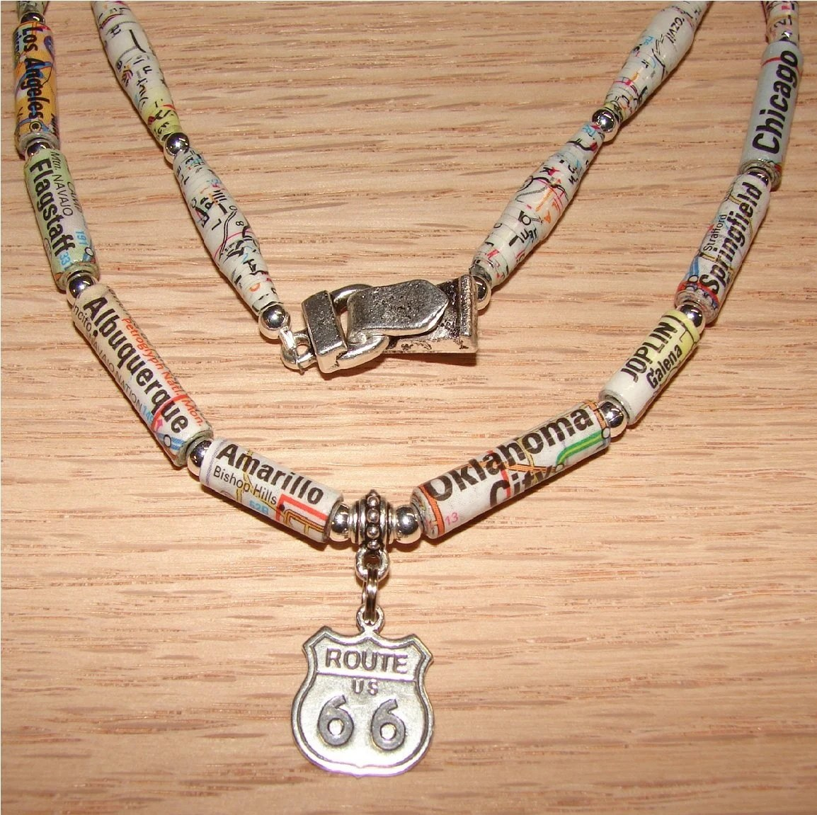 Route 66 Map Necklace - Made with paper beads - EBTW Sale - by RunsWithScissors4