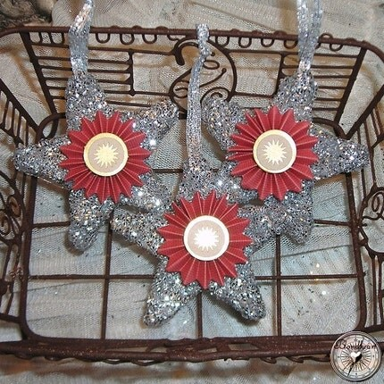 Set Of 3 Red Medallion Wooden Glitter Star Ornaments