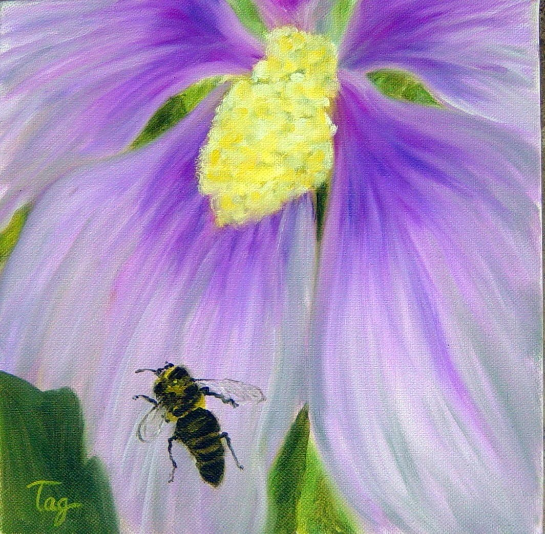 flower and bee oil painting