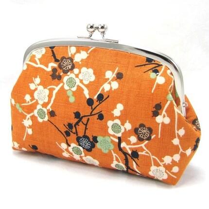 Frame Pouch L - Japanese Plum Flowers on Orange