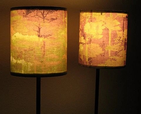 Peaceful  Tree Silhouettes, Drum Lampshade Pair