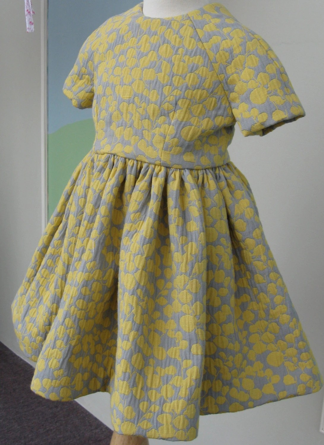 Grey & yellow party dress