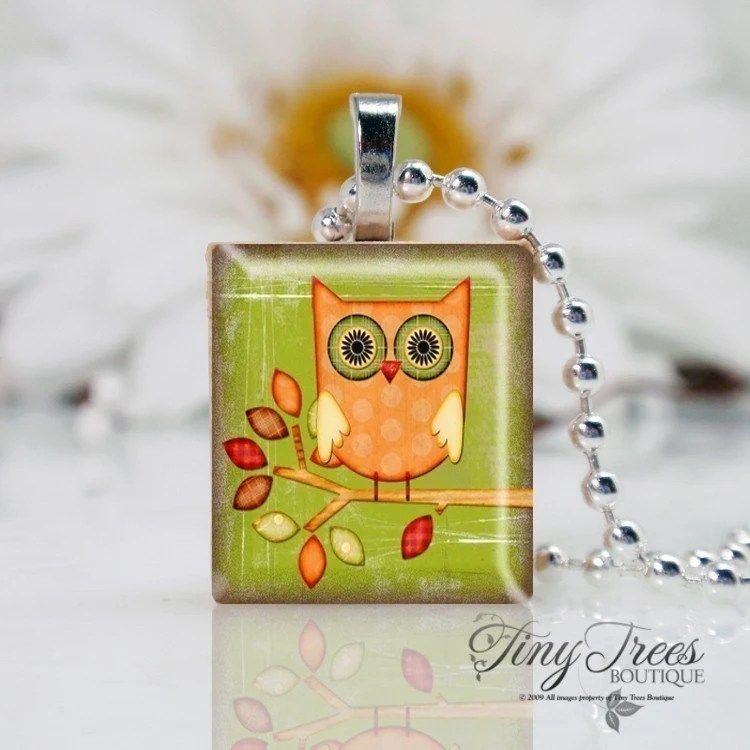 SCRABBLE TILE PENDANT- Hoot Owl Two