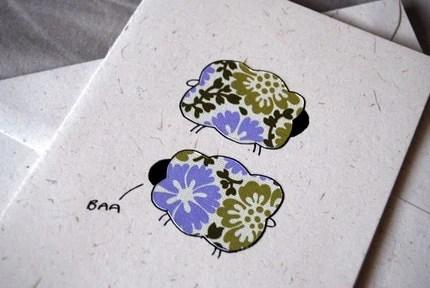 Baa Baa Sheep - Eco-Friendly, Recycled Greeting Card with Envelope