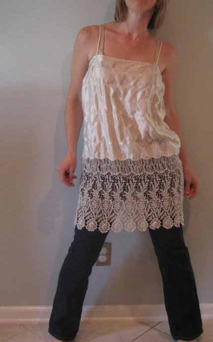 Altered Vintage Ivory Flapper Style Tunic/ Dress
