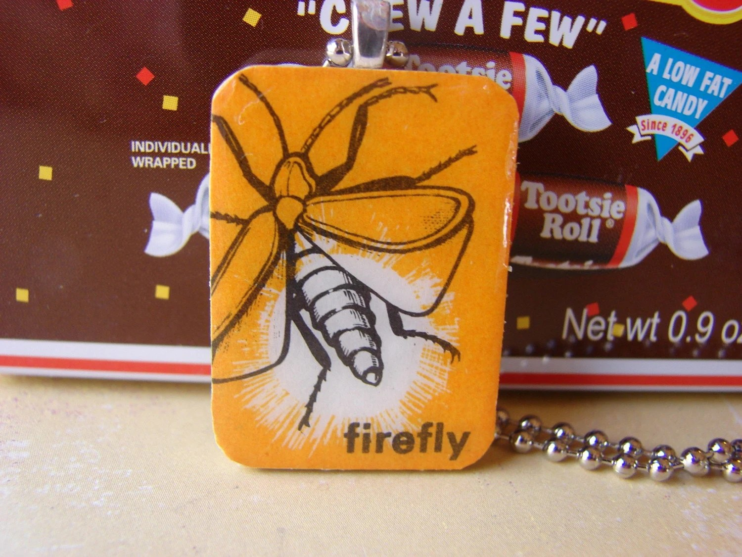 Firefly-A Paper and Wood Pendant Necklace-One of a Kind