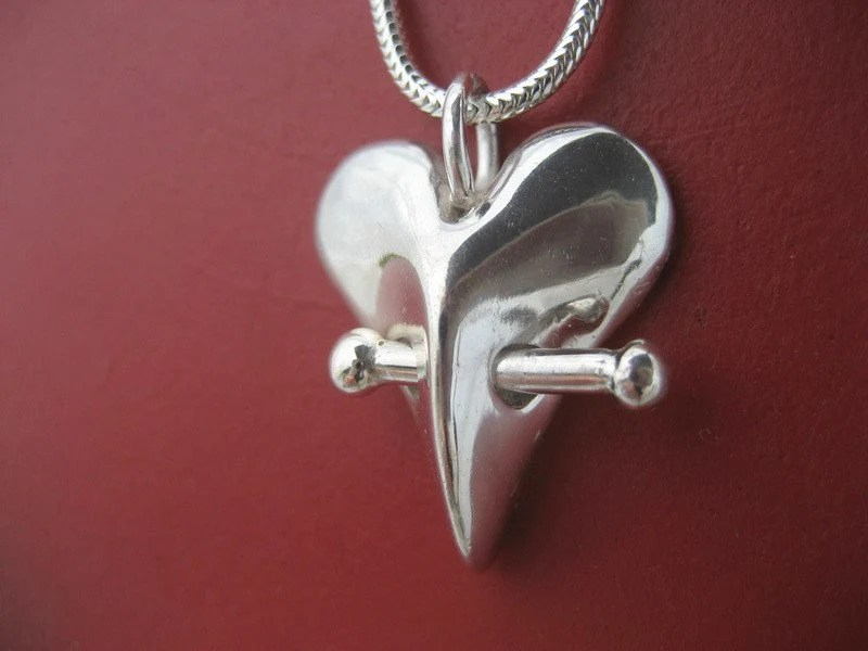 Sterling silver spiny pincushion heart necklace