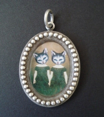 Cat Twins Silver Pendant