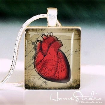 HOMESTUDIO - - - - Scrabble Tile Pendant - VINTAGE HEART