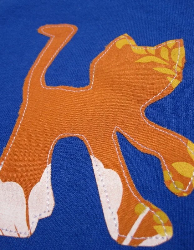 Childrens Orange Cat Applique Shirt, Short Sleeve - Size Youth M