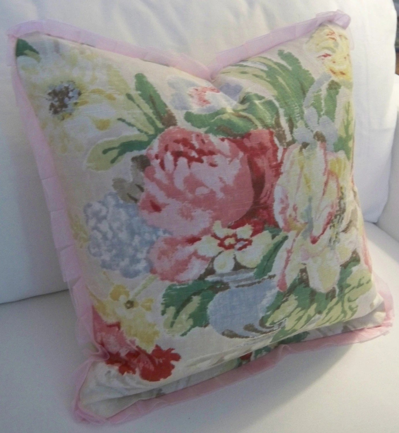 Floral Print Linen Pillow with Pink Pleated Trim