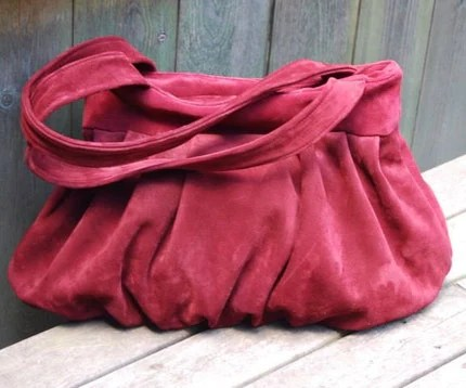 Genuine Leather Suede Purse in LIPSTICK SCARLET RED (many other colors available)