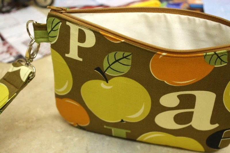 apples and letters large wristlet