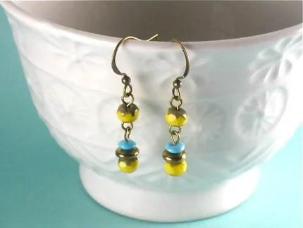 Stacked Yellow Earrings