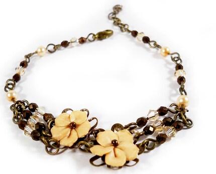 champagne colored flower bracelet