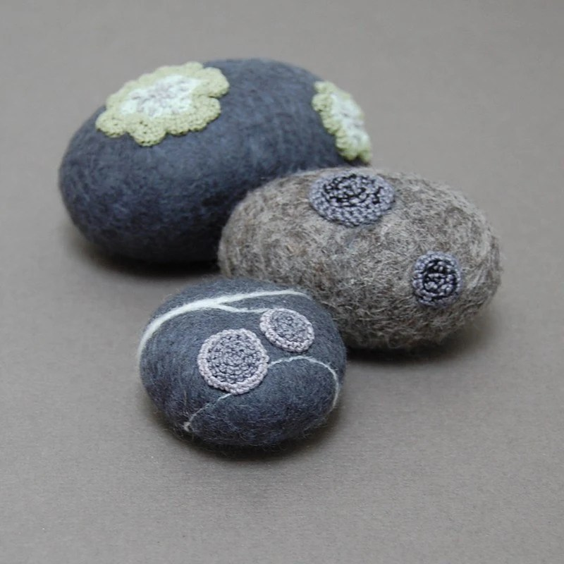 Lichen covered felt stones