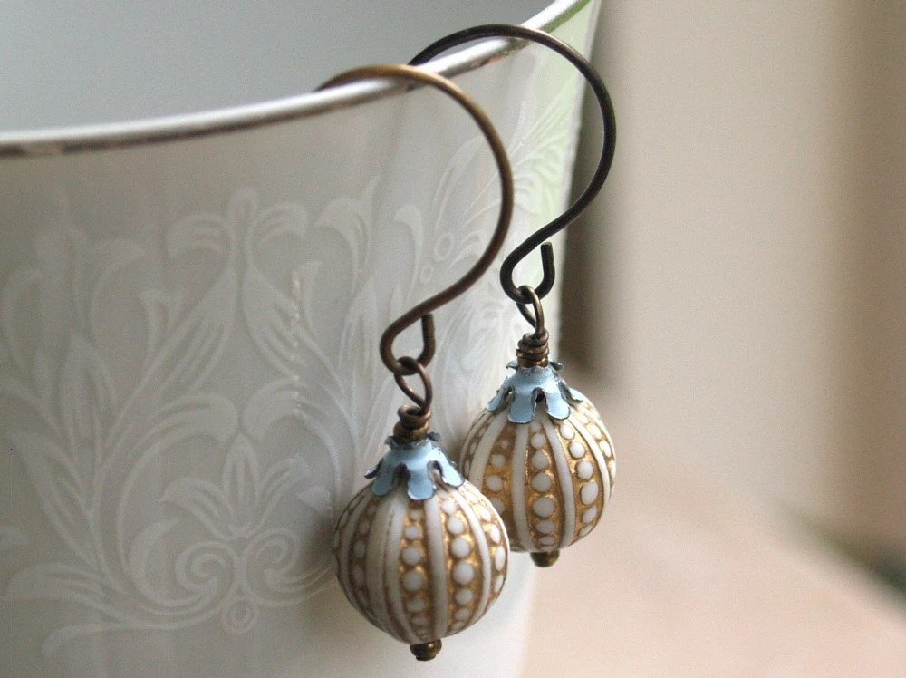 Beach Bum - Vintage Blue Enamel and Sea Urchin Lucite Earrings