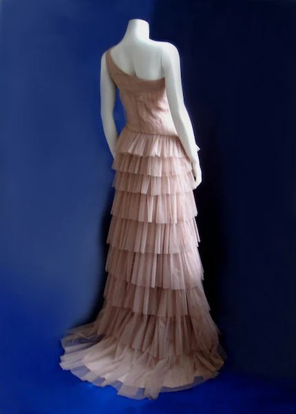 One of a Kind - Delicate Nude Tiered Gown - M