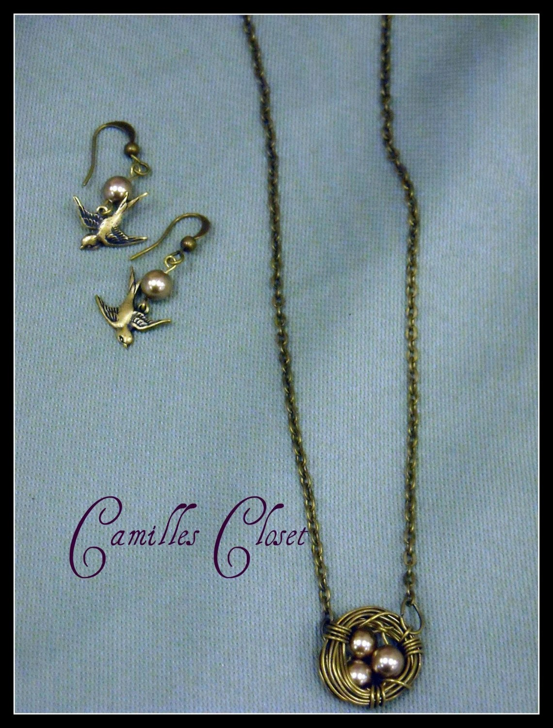 Birds nest Necklace and Earring set  Free Shipping
